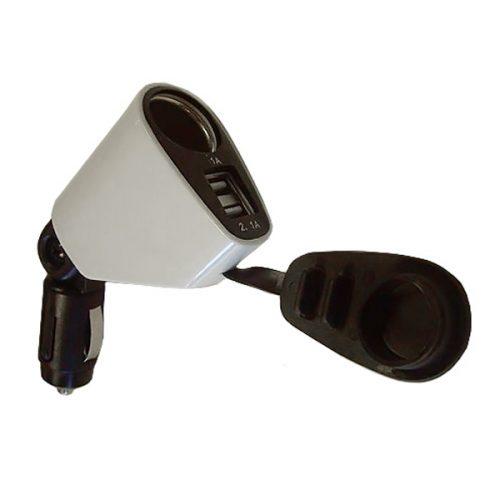 Roadtek YKB15 1-Way Power Socket and 2-Way USB Adaptor