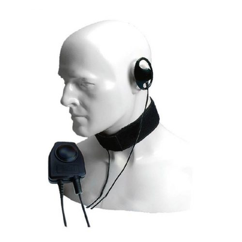Entel CXR16/950 D-shaped Earpiece, Throat Microphone with Large In-Line PTT