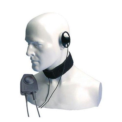Entel CXR16/DX D-shaped Earpiece, Throat Microphone with Large In-Line PTT